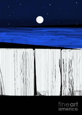 The Seawalls No.4 Full Moon Rising Art Print