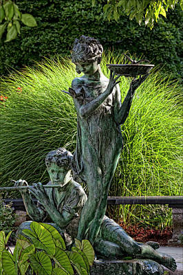 The Secret Garden Memorial Statue And Bird Bath Print by Robert Ullmann