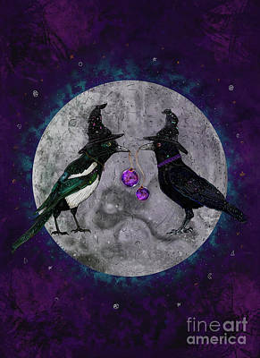 Magpies Mixed Media - The Secret Gathering by Francesca Rizzato