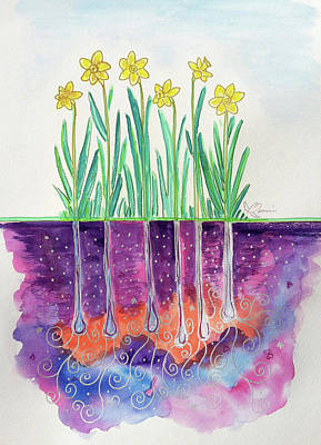 Spring Bulbs Painting - The Secret Life Of Daffodils by Bonnie Kelso