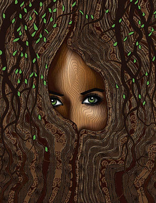 Digital Art - The Seer In The Tree by Serena King