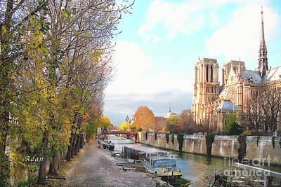 The Seine And Quay Beside Notre Dame, Autumn Art Print by Felipe Adan Lerma