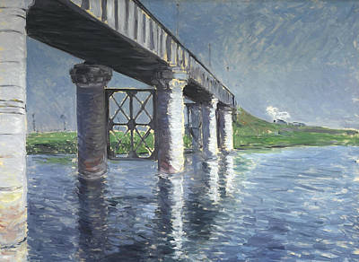 Painting - The Seine And The Railroad Bridge At Argenteuil by Gustave Caillebotte