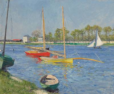 Riverscape Painting - The Seine At Argenteuil by Gustave Caillebotte