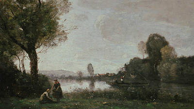 The Seine At Chatou Art Print by Jean-Baptiste Camille Corot