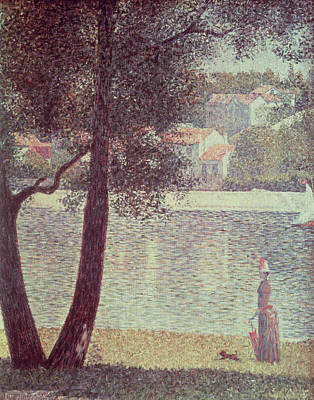 Dog Walking Painting - The Seine At Courbevoie by Georges Pierre Seurat