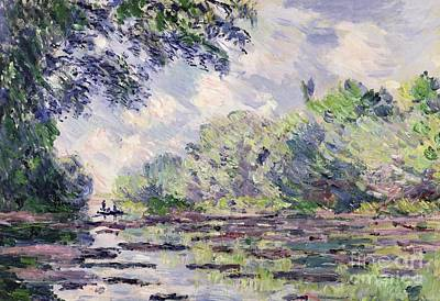 Stretch Painting - The Seine At Giverny by Claude Monet