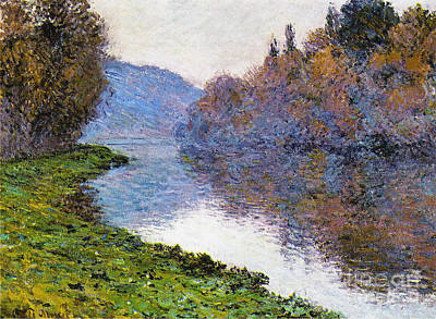 Tranquil Painting - The Seine At Jenfosse by Claude Monet