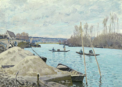 River View Painting - The Seine At Port Marly, Piles Of Sand by Alfred Sisley