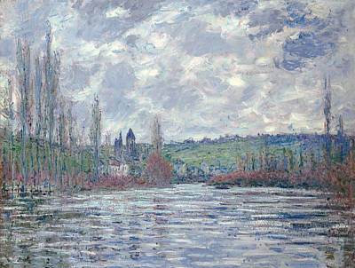 The Seine In Flood At Vetheuil Art Print by Claude Monet