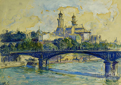 The Seine In Front Of The Trocadero Art Print by Henri-Edmond Cross