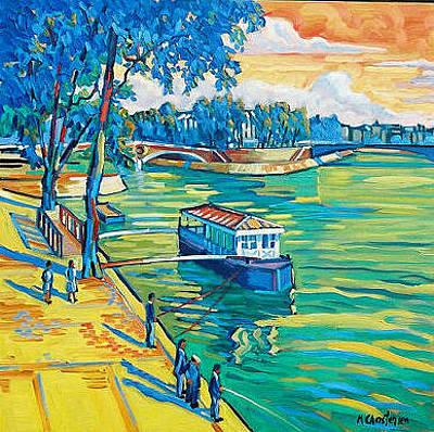 Ile St Louis Painting - The Seine by Ken Christensen