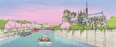 Wall Art - Digital Art - The Seine And Notre Dame by Renee Andriani