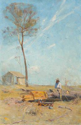 Australian Landscape Painting - The Selector's Hut by Arthur Streeton