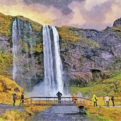 Digital Art - The Seljalandsfoss Waterfall In October by Digital Photographic Arts