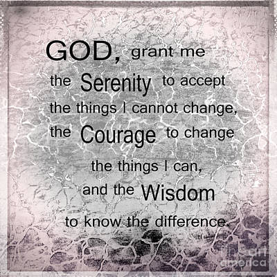 The Serenity Prayer Art Print by Beverly Guilliams