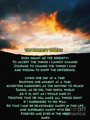 Confessions Photograph - The Serenity Prayer by Celestial Images