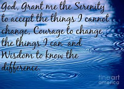 Photograph - The Serenity Prayer by Jenny Revitz Soper