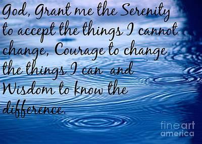 Photograph - The Serenity Prayer by Jenny Revitz Soper