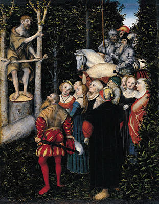 Painting - The Sermon Of St. John The Baptist by Lucas Cranach the Elder
