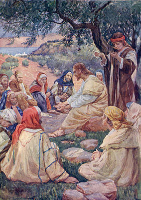 Bible Drawing - The Sermon On The Mount. From A Book Of by Vintage Design Pics