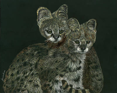 Mixed Media - The Serval Twins by Jessica Kale