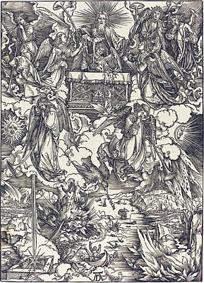 Drawing - The Seven Angels With The Trumpets by Albrecht Durer