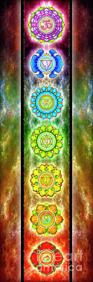 Seven Mixed Media - The Seven Chakras - Series 3 by Dirk Czarnota