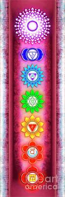 Mandal Digital Art - The Seven Chakras - Series 6 Artwork 4 by Dirk Czarnota