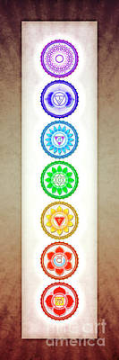 Tantra Digital Art - The Seven Chakras - Series 6 Color Variant Warm Brown by Dirk Czarnota