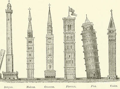 Landmarks Drawing - The Seven Great Towers by English School