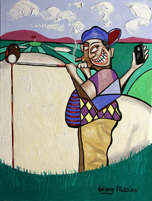 Sports Paintings - The Seventh Hole I Did It My Way by Anthony Falbo