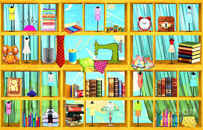 Bookshelf Painting - The Sewing Corner by L Wright