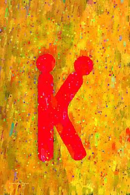 Letter Digital Art - The Sexy K  - Red -  - Da by Leonardo Digenio