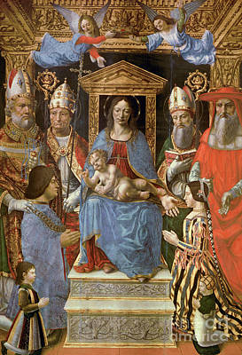 Jesus With Boy Painting - The Sforza Altarpiece by Master of the Pala Sforzesca