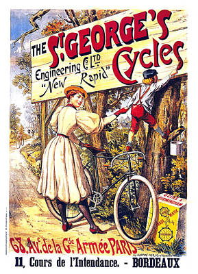 Mixed Media - The S'george's Cycles - Bicycles - Vintage French Advertising Poster by Studio Grafiikka