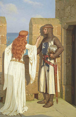 Medieval Painting - The Shadow by Edmund Leighton