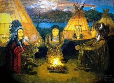 Painting - The Shamans Council by Larry Lamb