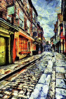 Mixed Media - The Shambles York Van Gogh by David Pyatt