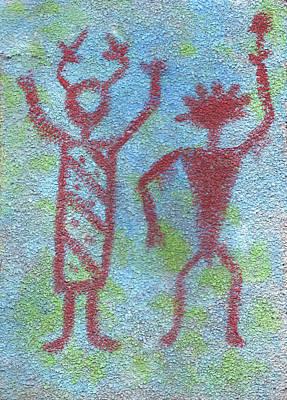 Petroglyph Painting - The Shamen by Wayne Potrafka