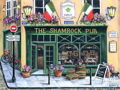 Wall Art - Painting - The Shamrock Pub by Marilyn Dunlap