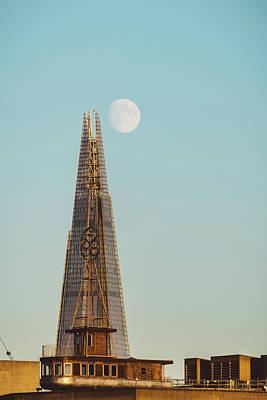 Photograph - The Shard And The Moon At Sunset by Dutourdumonde Photography