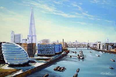 London Skyline Paintings - The Shard London by Mark Woollacott