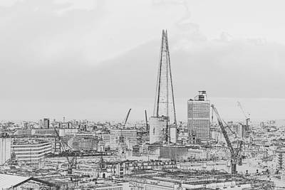 Photograph - The Shard Outline Poster Bw by Gary Eason