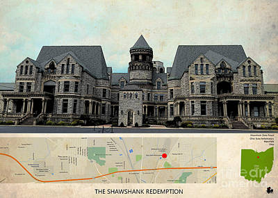Shit Wall Art - Painting - The Shawshank Redemption Film Location, Ohio Map  by Drawspots Illustrations