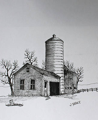 Drawing - The Shed by Jack G  Brauer