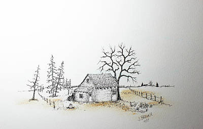 Shed Mixed Media - The Shed Out Back by Jack G Brauer