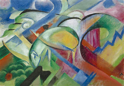 Franz Marc Painting - The Sheep by Franz Marc