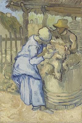 Painting - The Sheepshearer After Millet Saint Remy De Provence  September 1889 Vincent Van Gogh 1853   1890 by Artistic Panda