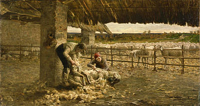 Woden Wall Art - Painting - The Sheepshearing by Giovanni Segantini